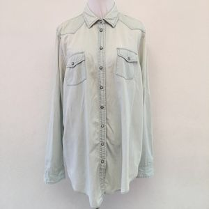 Topshop Faded Jeans Button Down Shirt Size 12